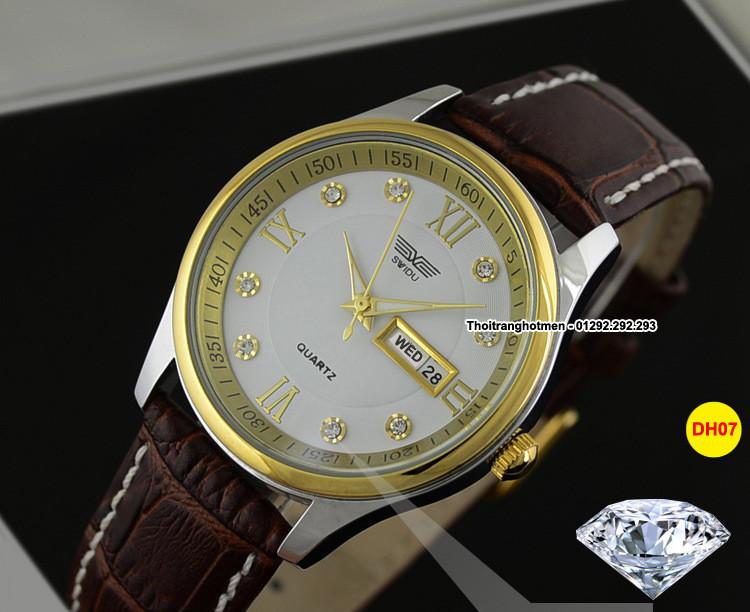 Đồng hồ nam day da cao cấp Swidu -Swi chống thấm chống xước 6