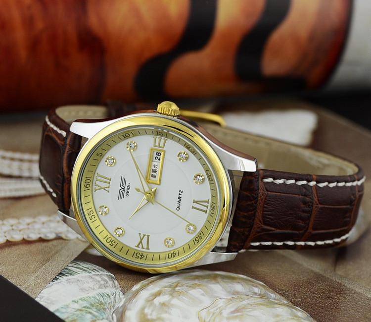 Đồng hồ nam day da cao cấp Swidu -Swi chống thấm chống xước 9
