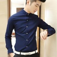 Aó sơ mi nam màu xanh đen vải đẹp có thun co giản nút nổi bật