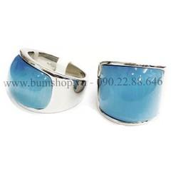Nhẫn inox nam cẩn đá xanh ngọc