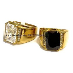 Nhẫn inox cẩn đá trắng mạ vàng