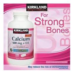 Viên Calcium 600mg + D3 Kirkland 500 Viên