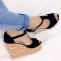 Giày sandal xuồng chữ T đế giả gỗ