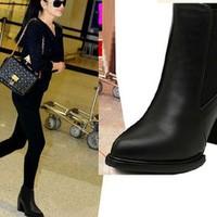 Giày boot đế vuông 9 phân cổ cao phối thun size 38,39