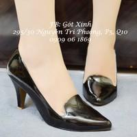 Giày cao gót lưỡi gà - đen-GX077