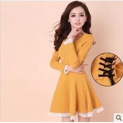 Đầm nữ dài tay, dáng xòe, thiết kế phối ren gấu nhẹ nhàng
