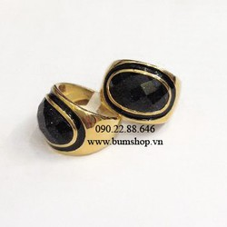 Nhẫn inox nam mạ vàng cẩn đá đen