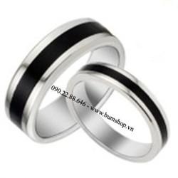 Nhẫn inox đôi viền đen giống Lâm Chí Dĩnh