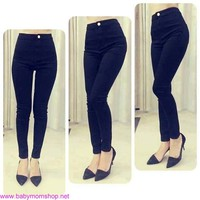 Quần jeans lưng cao 1 nút form chuẩn new