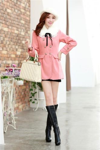 Áo khoác dạ W0043 - màu café, hồng, xanh đen 3
