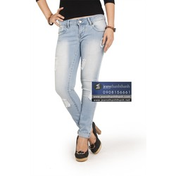 quàn jeans nữ ống ôm màu sáng