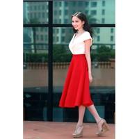 Chân váy đỏ form dài cao cấp