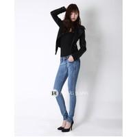 Quần jeans nữ skinny màu xanh sáng xước nhẹ 8863