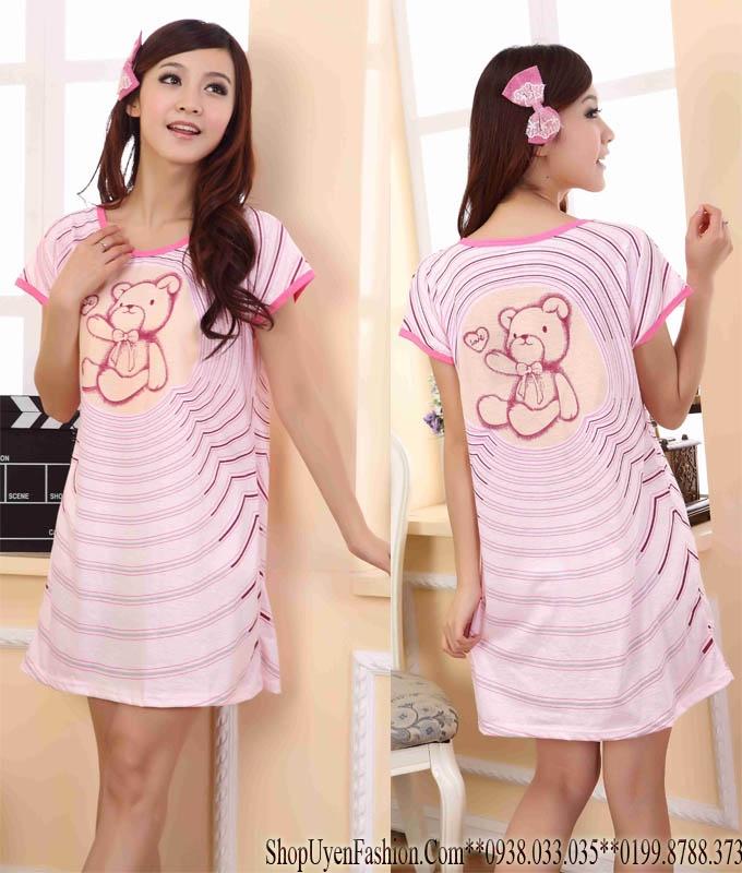 Đầm ngủ họa tiết gấu đáng yêu-DN320 2