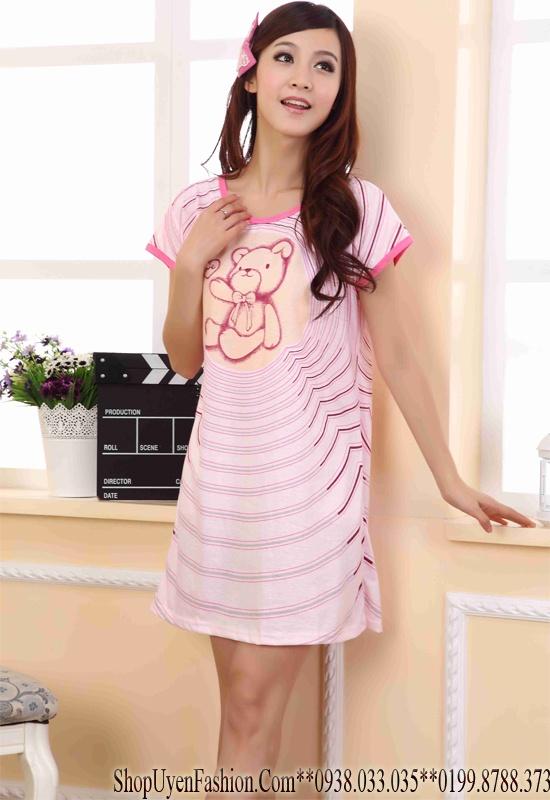 Đầm ngủ họa tiết gấu đáng yêu-DN320 4