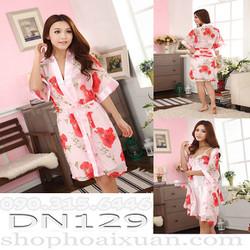 Đầm ngủ nữ phi bóng kèm áo choàng voan bông hoa - DN129
