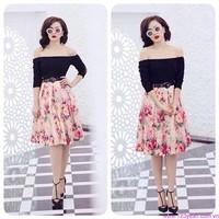Đầm xòe ren trễ vai váy hoa xinh xắn zDD521