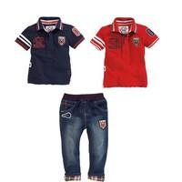Set bộ quần jeans và 2 áo polo cho bé trai