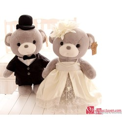 Gấu bông đôi cô dâu chú rể xám - M