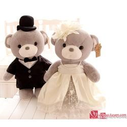 Gấu bông đôi cô dâu chú rể xám - L