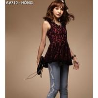 Áo váy ren nữ sát nách- Mã: AV710 - HỒNG