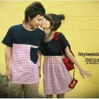 Bộ áo váy cặp tình nhân kẻ sọc xinh xắn-C005