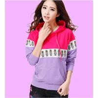 Áo hoodie hoạt hình phối màu Mã: AX1935 - HỒNG