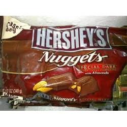 Chcolate  Hersheys nuggets, vuông đắng nhân hạnh nhân -  340g