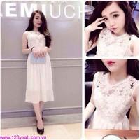 Đầm maxi áo ren chân váy trắng sDD628