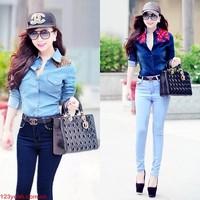 Quần jeans nữ lưng cao,lưng thấp ống ôm phom chuẩn tạo dáng xinh QJE56