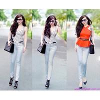 Quần jeans nữ lưng cao,lưng thấp ống ôm phom chuẩn tạo dáng xinh QJE62