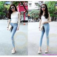 Quần jeans nữ lưng cao,lưng thấp ống ôm phom chuẩn tạo dáng xinh QJE63