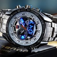 Đồng hồ cơ kết hợp bảng hiển thị đèn LED nam tính