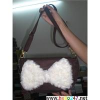 Túi xách nữ, túi đeo nữ, Túi đeo nhung hình nơ cực iu TDxitin19