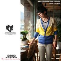 Áo khoác cardigan phối màu trẻ trung - CA1405 vàng