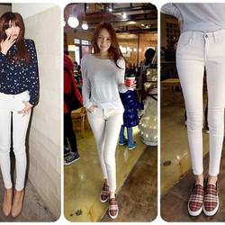 Quần jean trắng lưng cao 1 nút korea QD61