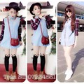 Đầm jean suông tay dài phối carô Suri D297