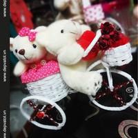Xe hoa gấu bông  Xe đạp tình yêu