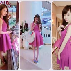 Đầm hồng xòe xếp ly korea D391