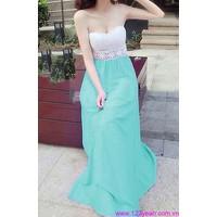 Đầm maxi cúp ngực váy xanh dịu dàng sDD698
