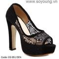 Giày dép cao gót thời trang công sở nữ gót vuông lưới hoa. CG 051
