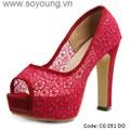 Giày dép cao gót thời trang công sở nữ gót vuông lưới hoa. CG 051 DO
