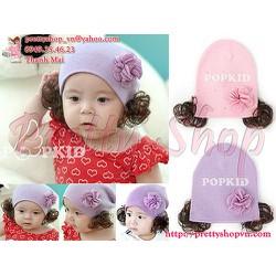 BE014 - Nón len baby đính hoa chấm bi nhỏ kèm tóc xoăn giả