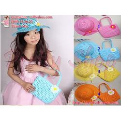 BE018 bộ nón và túi cói xinh đi biển dành cho bé gái