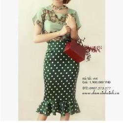 Đầm xòe chân váy chấm bi