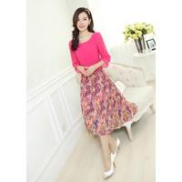 Đầm maxi tay lỡ váy hoa voan xòe cao cấp kiểu Hàn Quốc-D1752B