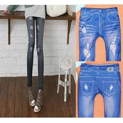 Quần legging thun giả jean wash rách QA030 thời trang cá tính