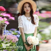 Áo ren tay hoa nổi Selina