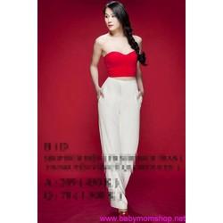 SET Áo ống đỏ - Quần suông trắng Thái Hà SE24