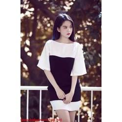 Đầm Ngọc Trinh nhiều màu phối trắng